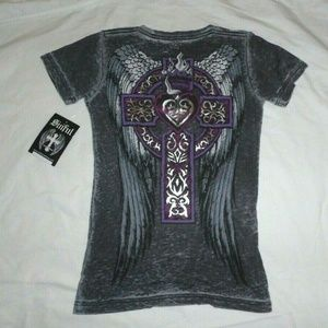 Sinful by Affliction Burnout Wings Silver Foil Tee